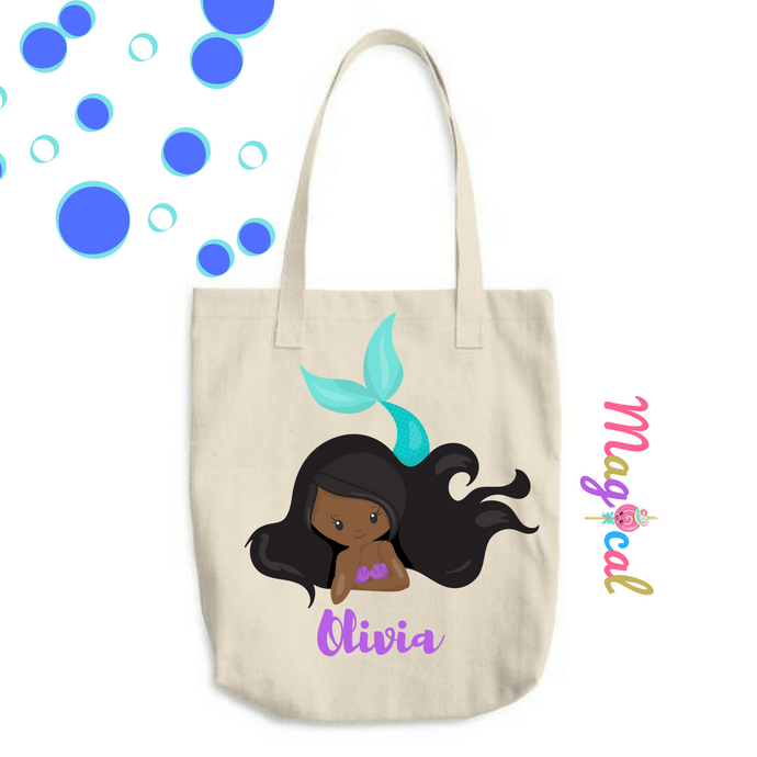 Mermaid  KIDS PERSONALIZED COTTON TOTE BAG- dark Skin