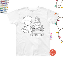 Christmas Morning Kids Washable Personalized Coloring T-shirts