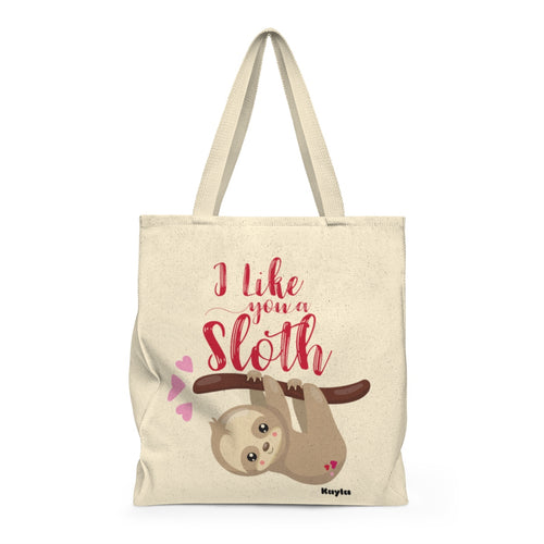 Personalized I like you a Sloth Valentine's Day Tote Bag