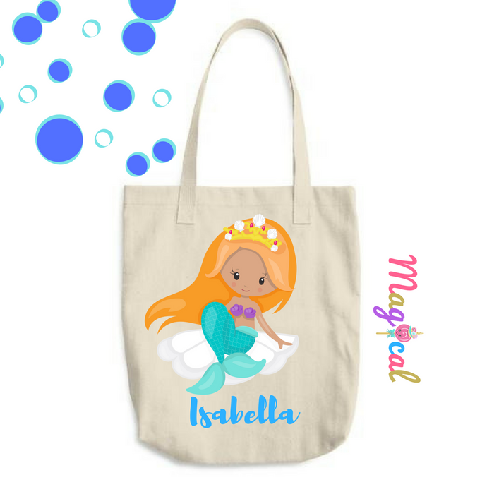 Mermaid Princess KIDS PERSONALIZED COTTON TOTE BAG