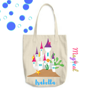 Mermaid Castle KIDS PERSONALIZED COTTON TOTE BAG