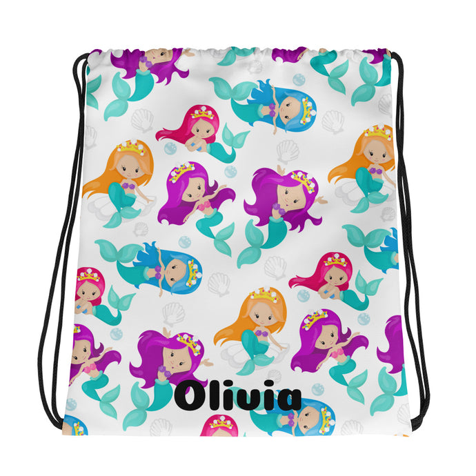 Mermaid Personalized Drawstring bag