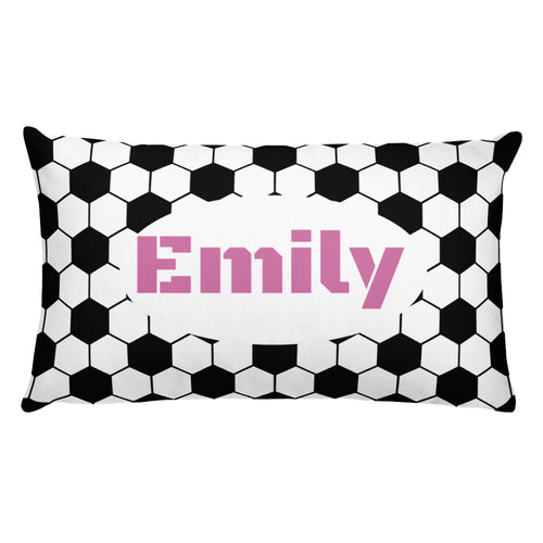 Pink/Black Soccer Personalized  Pillow