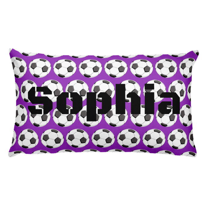 Purple Soccer Personalized Pillow