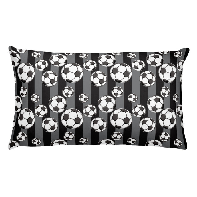 Black Soccer  Pillow