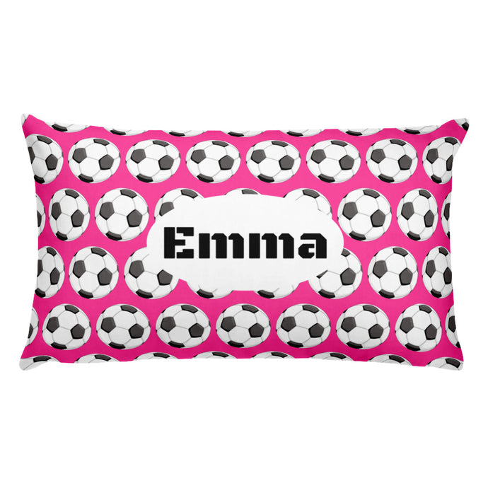 Pink Soccer Personalized Pillow