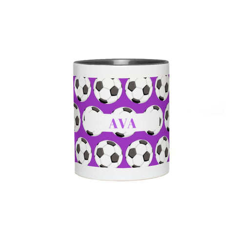 Purple Soccer Ball Custom Mug
