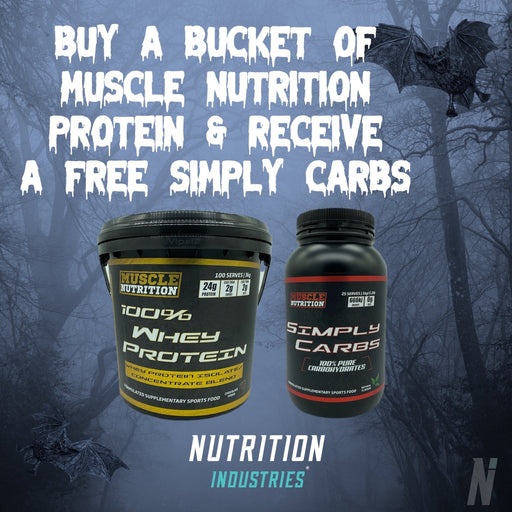 Halloween sale - Buy a 3kg Muscle Nutrition Protein get a FREE simply Carbs!
