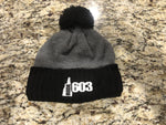 Super Warm Pom Pom Hat - Knit Hat Black & Gray Ride 603