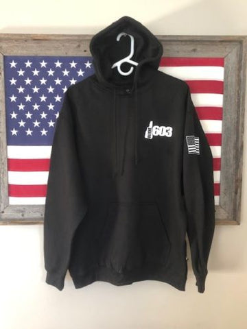 Ride 603 Screened Hoodie with American Flag