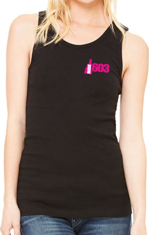 Ride 603 - Ladies Black Tank top Embroidered Pink Logo