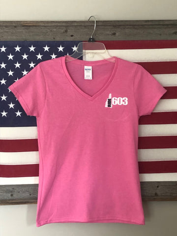 Ride 603 Pink Ladies V-Neck Short Sleeve T-shirt (Embroidered)