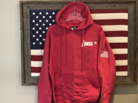 The New Ride 603 Pink Heavy Hoodie with American Flag