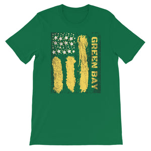 """Green Bay"" Flag Style Tri-blend T-Shirt"