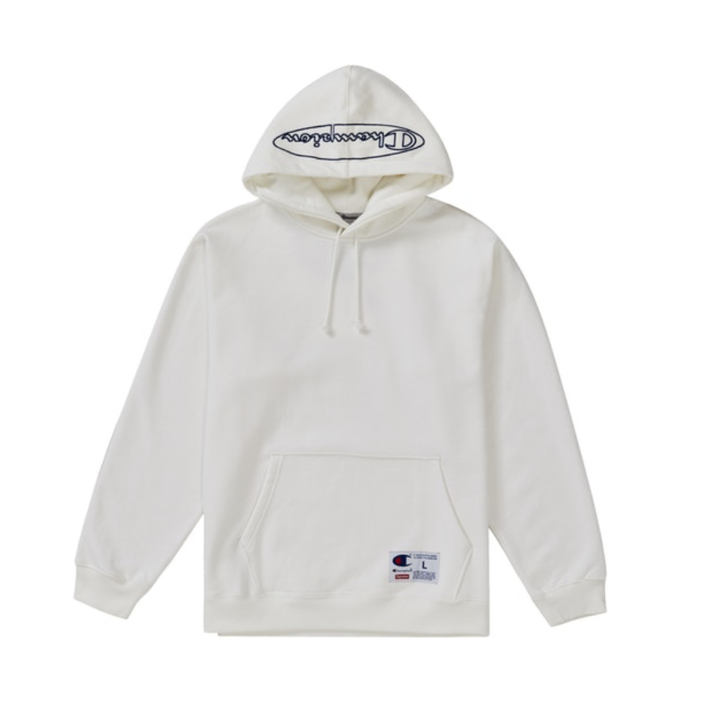 Supreme Champion Outline Hooded Sweatshirt White