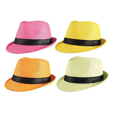 Gangster Straw Hat (Asstd Colours)