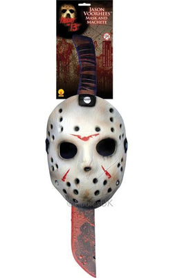 Jason Fancy Dress Mask and Machette Set