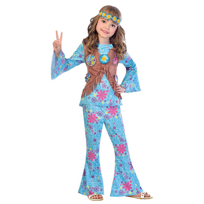 Flower Power Hippie Girl's Fancy Dress Costume