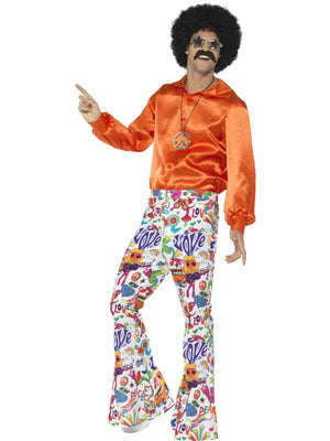 60's Groovy Flared Trousers Mens Fancy Dress Costume