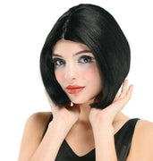 Centre Parting Wig. Black/Skin Top