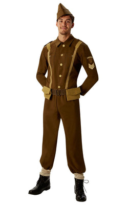 1930s to 1940s Soldier Men's Fancy Dress Costume