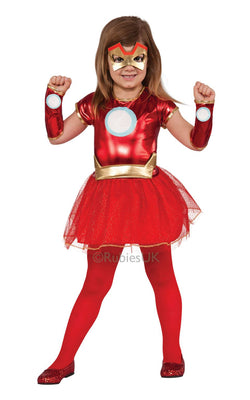 Girls Marvel LIL IRON LADY Fancy Dress Costume