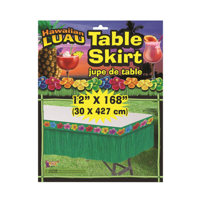 Hawaiian Green Plastic Table Skirt