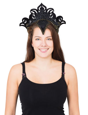 Carnival Headpiece Black W/Gold Trim