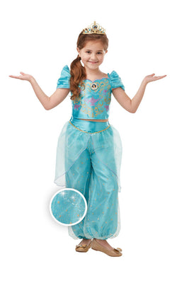 Jasmine Girls Disney Princess Fancy Dress Costume Glitter And Sparkle