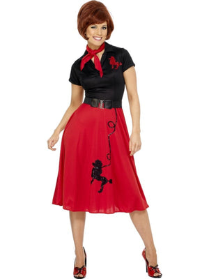 50s Poodle Fancy Dress Costume Black and Red