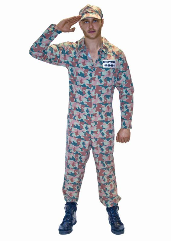 Men's Camo Army Fancy Dress Costume