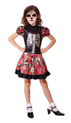 Girls Day Of the Dead Fancy Dress Costume