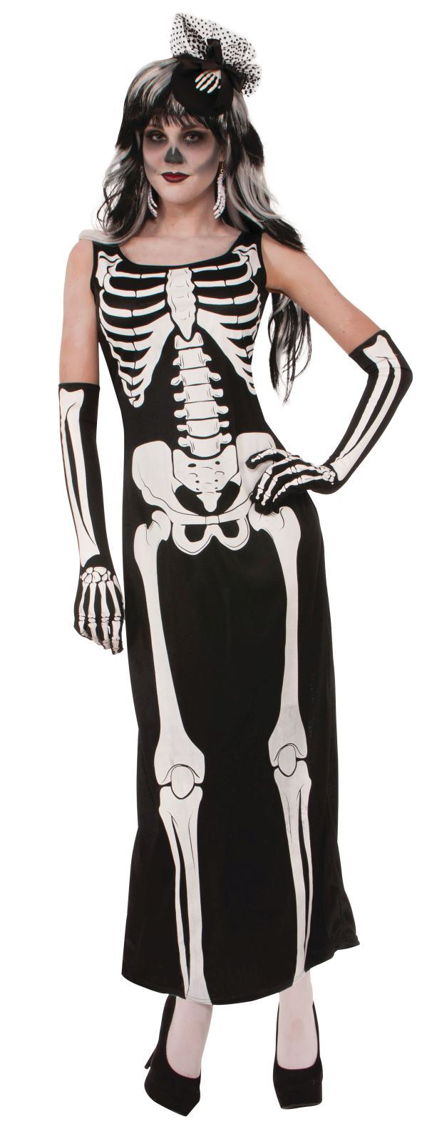 Womens Skeleton Long Dress Costume