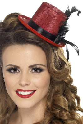 Mini Tophat, Red with Black Ribbon and Feather