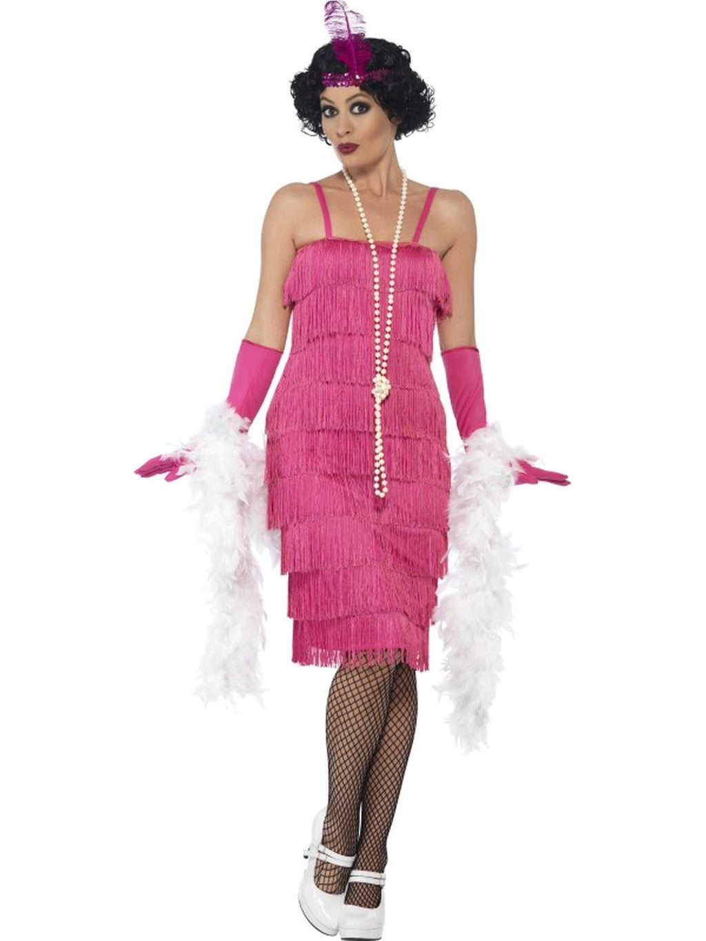 Women's Pink Longer length Flapper Fancy Dress Costume