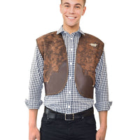 Adult Cowboy Vest Deluxe Brown Leather