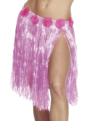Hula Skirt with Flowers - Neon Pink