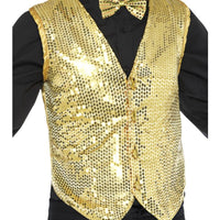 Sequin Waistcoat Unisex Gold Fancy Dress