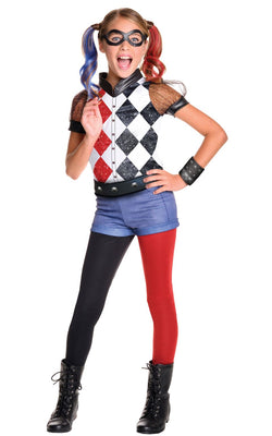 Girl's Deluxe Harley Quinn Fancy Dress Costume