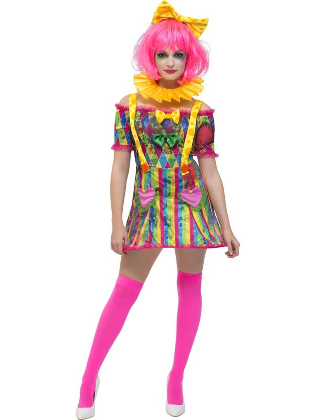 Fever Patchwork Clown Women's Fancy Dress Costume