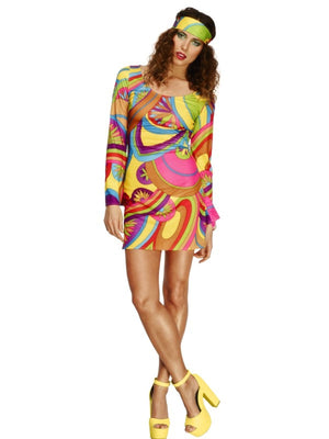 70s Flower Power Lady Fancy Dress Costume