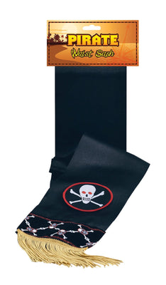 Black Pirate Waist Sash Deluxe