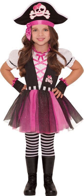 Girls Dazzling Pink Pirate Fancy Dress Costume
