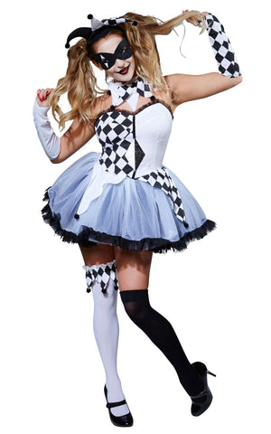 Jester Harlequin Womens Fancy Dress Costume Halloween Outfit