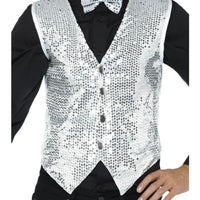 Sequin Waistcoat Silver Men's Fancy Dress Costume