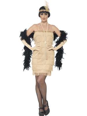 Women's Gold Flapper Fancy Dress Costume
