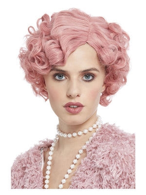 Deluxe 20s Flirty Flapper Wig, Pastel Pink