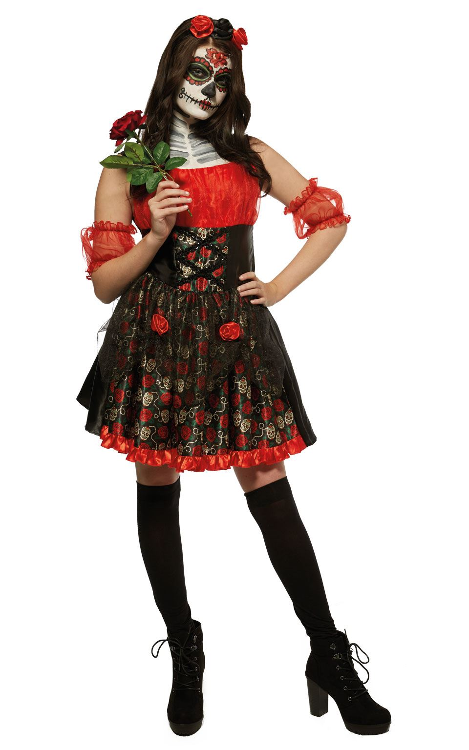 Red Rose Day Of The Dead Women's Fancy Dress Costume