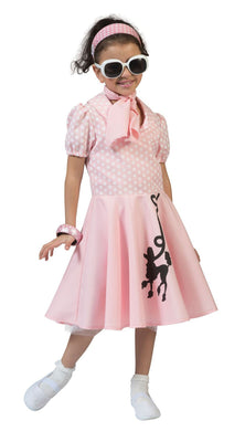 Girls 50s Poodle Pink Fancy Dress Costume