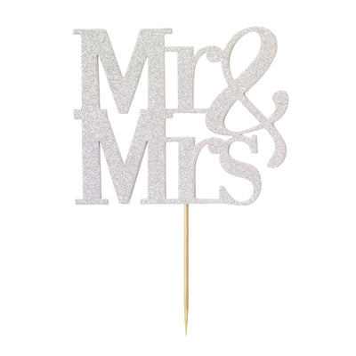 Diamond Cake Topper Silver Mr And Mrs